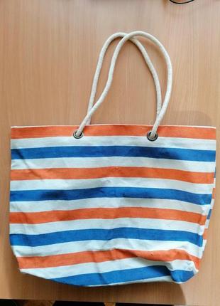 Большая пляжная хлопковая сумка