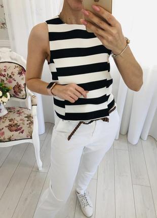 Топ блузка в бело чёрную полоску