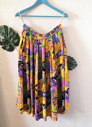 Винтажная плессировпнная юбка в абстрактный принт, вискоза, винтаж