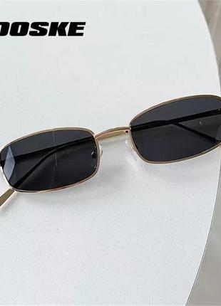 Чёрные очки прямоугольные, ретро очки