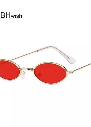 Винтажные очки, овальные очки, красные очки