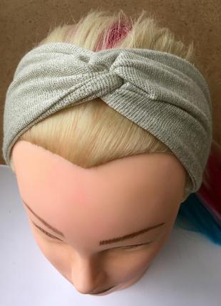 Повязка на голову с серебристым люрексом, чалма