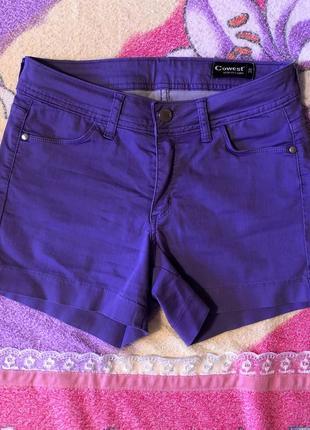 Шорты сиреневые фиолетовые высокая посадка