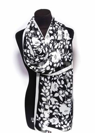 Шарф шифон шифоновый тонкий прозрачный черный белый цветы новый качественный