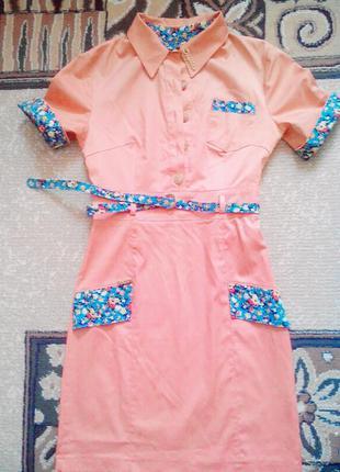 Оригинальное оранжевое платье