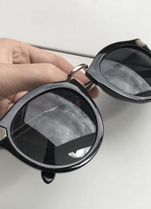 Очки круглые солнцезащитные ретро чёрные золото