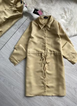 Платье рубашка горчичного цвета2 фото