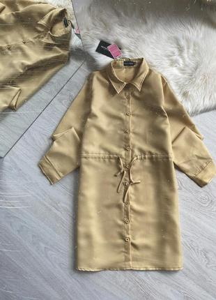 Платье рубашка горчичного цвета4 фото