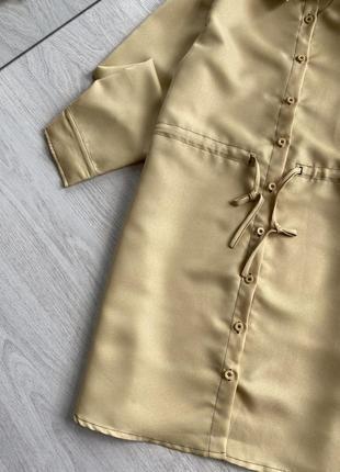 Платье рубашка горчичного цвета5 фото