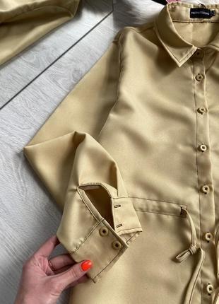 Платье рубашка горчичного цвета6 фото