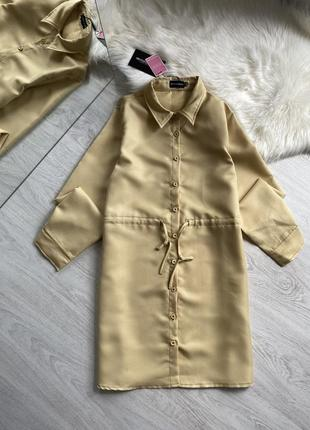Платье рубашка горчичного цвета