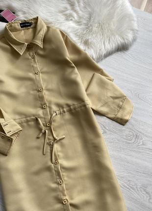 Платье рубашка горчичного цвета8 фото