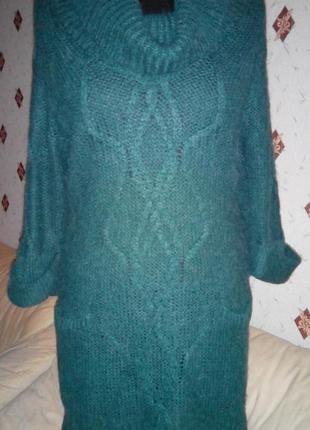 Тёплое вязаное платье туника с карманчиками изумрудного цвета  m/l