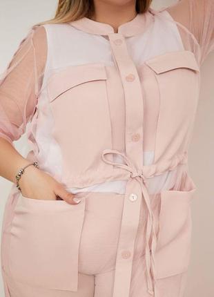Красивый брючный костюм тройка с пиджаком-сетка. есть большие размеры.