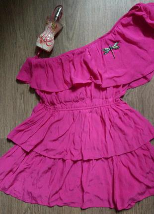Ягодное ассиметричное платье next