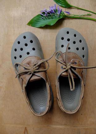 Crocs кроксы туфли кожаные шлепанцы m7 w9 размер 39 - 40 оригинал спортивные