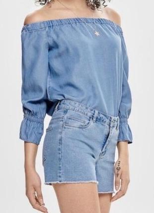 Блуза only с открытыми плечами джинсовая из лиоцела