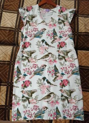 Летнее платье с птицами