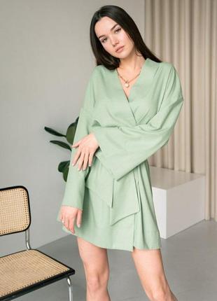 Кімоно з поясом міді / платье кимоно с пояском длиной миди /оливковый / є опт від 5 шт
