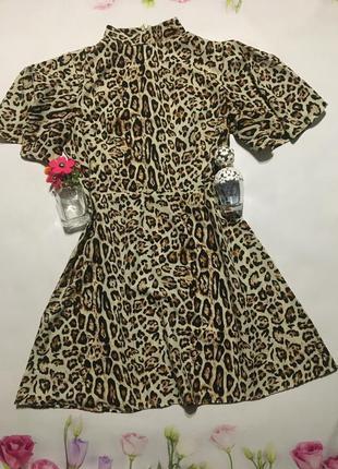 Стильное легкое летнее платье в леопардовый принт