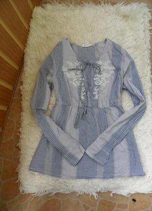 Красивая винтажная хлопковая голубая рубашка в клетку с вышивкой, вышиванка