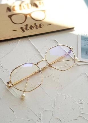 Металлическая многоугольная золотая оправа для замены линз, прозрачные имиджевые очки.  оправа для заміни лінз