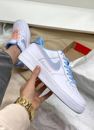 Кроссовки nike air force  white/blue/pink