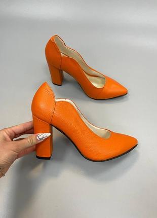 Эксклюзивные туфли яркий оранж натуральная итальянская кожа и замша люкс