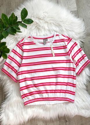 Хлопковый кроп топ футболка в полоску 1+1=3