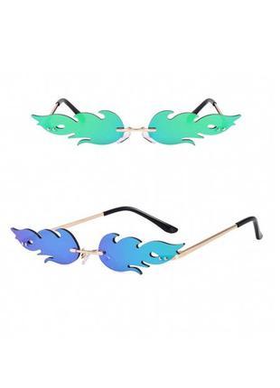 Очки огоньки имиджевые бирюзово-синие стильные узкие унисекс
