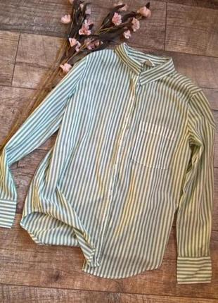 Базовая рубашка блузка  кофточка в полоску белый зелёный h&m zara bershka
