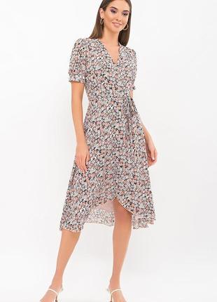 Платье шифон принт + креп-шифон (в расцветках)