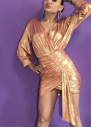 Платье розовое золото
