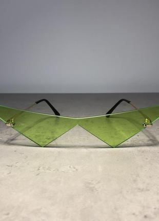 Очки треугольники зелёные необычные стильные имиджевые унисекс