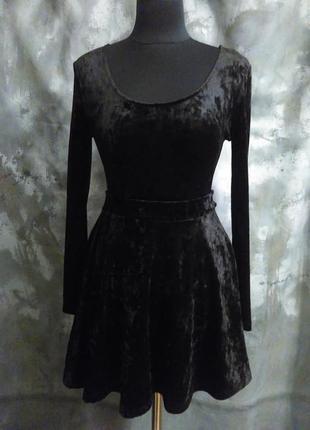 Короткая, черная, базовая, бархатная мини юбка, клеш, солнце