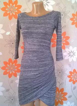 Меланжевое платьеце с ассиметричным низом