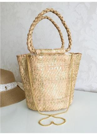 Zara плетеная сумка корзина с золотым напылением и длинной цепочкой