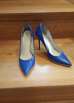 Синие  туфли нат.кожа