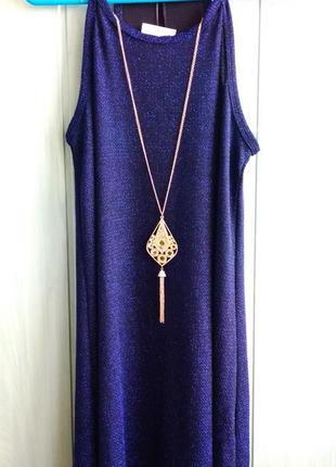 Красивое сияющее платье в комплекте с цепочкой и подвеской, новое из сша