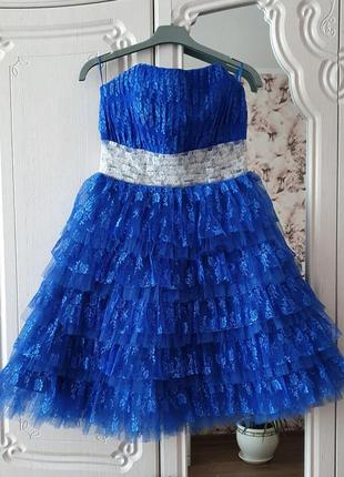 Красивое платье на выпускной пышное вечернее платье фатиновое платье с корсетом xs-m