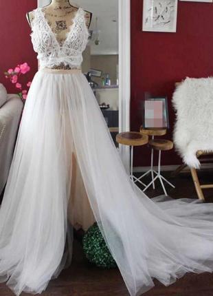 Фатиновая юбка шлейф на платье для невесты