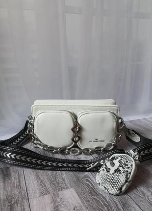 Белая кожаная сумка polina & eiterou белоснежная