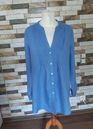 Льняная лен блуза рубашка туника laura ashley 16 размер