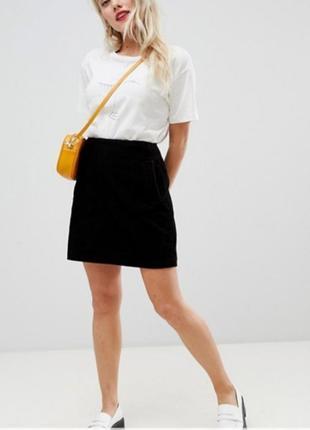 Вельветовая черная юбка с бахромой р.s