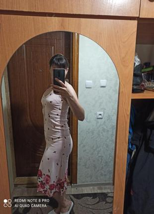 Нежно розовый сарафан миди(спереди на пуговицах)