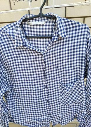 Zara, женская рубашка в клетку, размер м