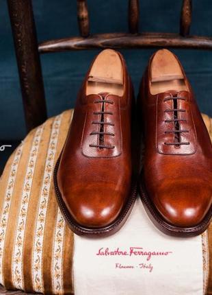 Оксфорды люкс класса salvatore ferragamo, италия 42 туфли мужские кожаные инспекторы