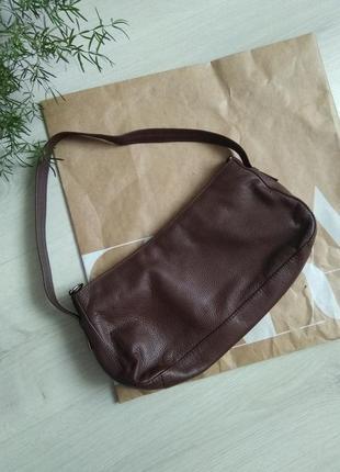 Сумка сумочка багет в насыщенном шоколадном цвете в стиле zara