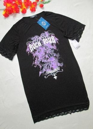 Мега крутая удлинённая футболка платье в готическом рок стиле signature.