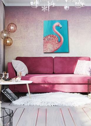 """Картина интерьерная живопись ,,розовый фламинго"""""""